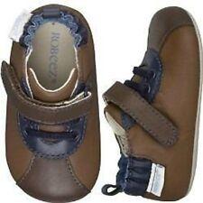 NIP ROBEEZ Mini Shoez Shoes Lil Sport H&L Brown Blue 3-6m 1.5 2