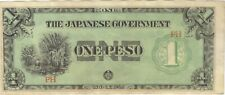 1 ONE PESO PHILIPPINES JAPANESE INVASION MONEY NOTE BANKNOTE BILL CASH JIM WWII