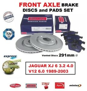 FOR JAGUAR XJ 6 3.2 R 4.0 V12 6.0 1989-2003 FRONT AXLE BRAKE PADS + DISCS 291mm
