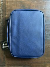Navy Blue Faux Leather Bible Cover Back Pocket Inside Pen Holders & Pockets NWT