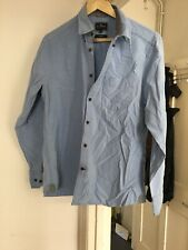 Marks & Spencer Blue Harbour Blue Oxford Style Shirt Slim Fit Size Medium (bx28)
