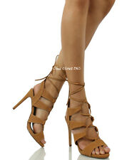Women High Heel Gladiator Ankle Strap Sandals Lace Up Booties Wedding Shoes
