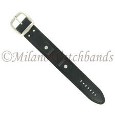 20mm Hadley Roma Black Genuine Leather X-Wide Military Style Cuff Watch Band 912