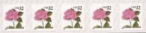 US Stamp 1995 32c Rose Flower - 5 stamp Coil Strip - Scott #S111 #2492g