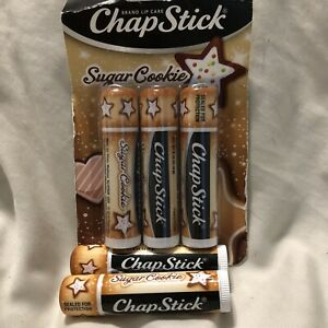 New 3 Pack Chapstick Limited Sugar Cookie Flavor Lip Balm NIP, Plus 2 Extras