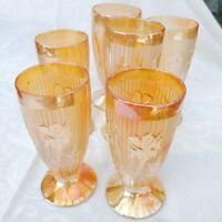 "6 pcs Antique Jeannette Iris & Herringbone Gold Opaline Glass Goblets 6"" USA"