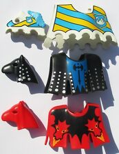 Playmobil Ritter 3 x SCHANZKLEID 3319 3315 Schabracke Kopf Pferdedecke Pferd