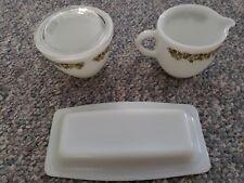 Set of 3 - Pyrex/Corning/Corelle Crazy Daisy Creamer, Sugar Bowl, & Butter Dish