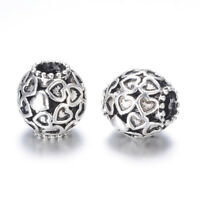 10pcs Tibetan Heart Link Round Alloy European Beads 5mm Large Hole Silver 12mm