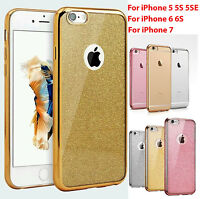 New Ultra Clear Electro Glitter TPU Gel Case Cover for Apple iPhone 5 5S 6 6S 7