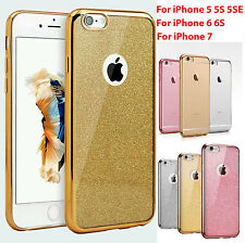 Ultra Clear Electro Glitter TPU Gel Case Cover Fit for Apple iPhone 5 5S 6 6S 7
