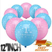1st Happy Birthday for Baby Boy & Girl Printed Pink Blue Balloons Party Decor UK