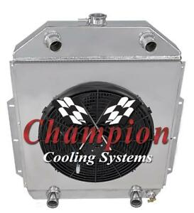 "3Row Champion Radiator,16"" SPAL HI-Peform Fan, Shroud 42-52 Ford Truck Flathead"