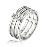 Fashion Women 925 Sterling Silver Wide Crystal Band Solid Ring Jewelry Size 7/8