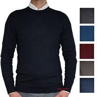 Maglia Uomo Girocollo Pullover Casual M L XL XXL maglione maglietta jeans giacca