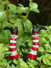 Miniature Dollhouse FAIRY GARDEN ~ Mini HALLOWEEN Pair of Witch Legs Picks ~ NEW