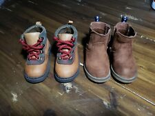 Lot Of 2 - Toddler Baby Gap / Cat & Jack - Brown Hiking Boots Shoes - Size 5