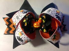 "Halloween Mickey & Minnie Mouse pumpkin hair bow 6"" orange & black"