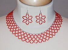 Red & Silver Glass Bead Woven Netted Collar Necklace & Flower Earring Set NEW