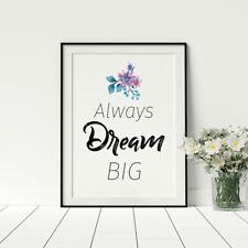 Always Dream Big Motivational Female Poster For Bedroom Floral Design Artwork