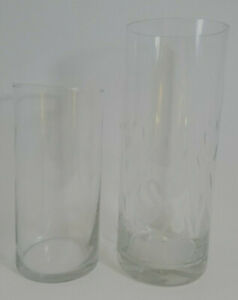 Modern Cylinder Glass Vases-Plain & Frosted Swan Designs-You Choose-PreOwned
