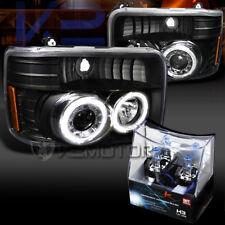 92-96 Bronco F150 F250 F350Black Halo Projector Headlights+H3 Halogen Bulbs