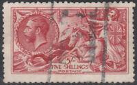 1915 DE LA RUE SEAHORSES SG409 5s BRIGHT CARMINE GOOD/FINE USED LIGHT CANCEL