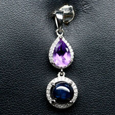NATURAL 7 mm. 6RAYS STAR BLUE SAPPHIRE, AMETHYST & CZ 925 SILVER PENDANT