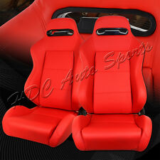 TYPE-R JDM Fully Reclinable Red PVC Leather Racing Seats + Sliders Universal 2