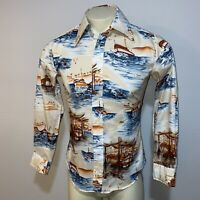 Vtg 60s 70s BRONZINI Dress Shirt POLYESTER Disco Woodstock Boat Mod MENS MEDIUM
