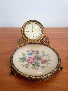 Vintage Petit Point Ingersoll Miniature Clock for Vanity/Dressing Table
