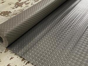 CHECKER - PLATE PVC RUBBER GRAPHITE FLOORING MATTING 2M WIDE X 2.5MM THICK