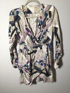 Gorman womens wrap dress size 14 bird print long sleeve tencel/viscose RARE