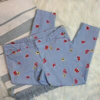 Old Navy Pixie Pant Blue Striped Floral Cropped Skinny Leg Pants Plus Size 16