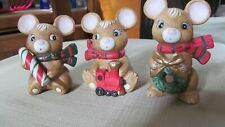 Vintage Homco Christmas Mice Mouse 5210 Set of 3 Perfect!