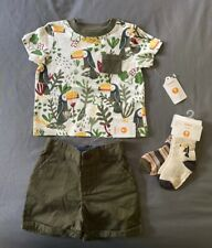 Baby Boy 6-12 Month Gymboree Green Toucan Pocket T-Shirt Shorts & 2 Pair Socks