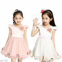 Girls Chiffon Dress Age 2 - 8 for Flower Girl Bridesmaid Party Pink White