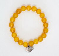 Yellow Beaded Bracelet With Apple Charm Handmade Fall Accessory Jewelry