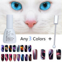 3PCS Soak Off 3D Magnetic Gel Nail Polish Varnish Cat Eye Effect UV/LED w/ Stick