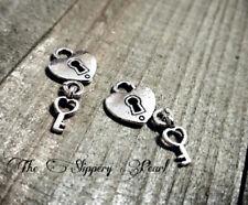 BULK Lock Key Charms Antiqued Silver 50 pieces Wholesale Heart Keyhole Steampunk