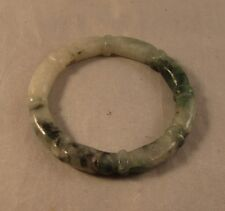 Vintage Chinese green and white jade bracelet bangle