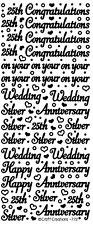25th Silver Wedding Anniversary Peel Off Stickers Card Making Scrapbook Glass