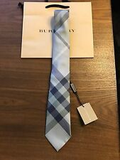 New Authentic Burberry Nova Check Plaid Logo Men Tie Haymarket Blue Slim $190