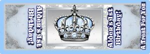 BABY BLUE AND SILVER LITTLE PRINCE CROWN HERSHEY NUGGET WRAPPERS BIRTHDAY FAVORS