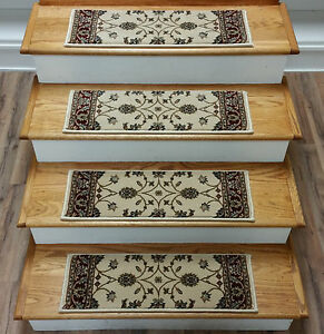 """Rug Depot Set of 13 Traditional Non Slip Carpet Stair Treads 26"""" x 8"""" Ivory/Red"""