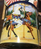 Colorful, Large Decorative tin with carousel horses; #carousels