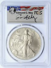2007-W $1 Burnished Silver Eagle SP70 PCGS Ed Moy signed (Chipped case)