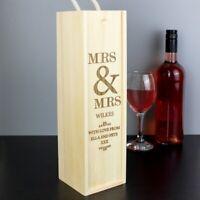 Personalised Bottle Presentation Box Wooden Wedding Gift Wine Mr&Mrs