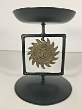 Bohemian New Age Metal Sun Candle Holder Stand Black Gold Decor Zen Astrology