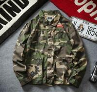 New Men's Casual Jacket Slim Fit Denim Jeans Camo Coat Military Overalls Outwear